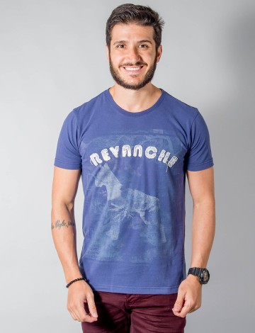 Camiseta Atacado Bordado com Estampa Masculino Revanche Old Dog  Azul Frente