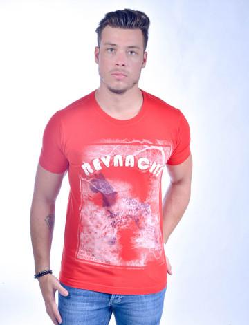 Camiseta Atacado Bordado com Estampa Masculino Revanche Old Dog Vermelha