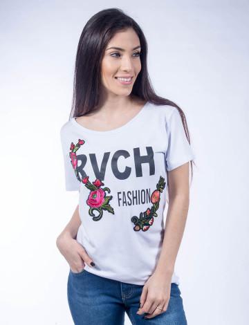 Camiseta Atacado Bordado de Flor Feminina Revanche Urbanitas Branca Frente