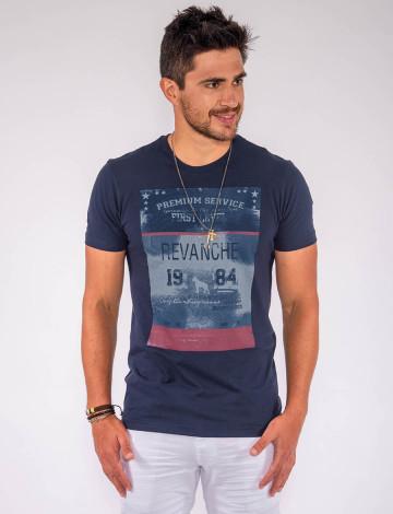 Camiseta Atacado c/ Estampa Masculina Revanche First Level Azul Marinho Frente