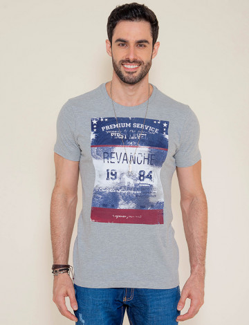 Camiseta Atacado c/ Estampa Masculina Revanche First Level Mescla Frente