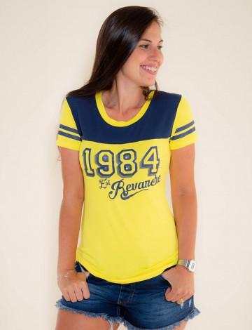 Camiseta Atacado c/ Recorte Feminino Revanche Old 1984 Amarela Frente