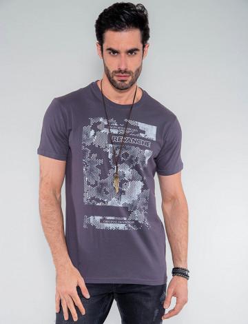 Camiseta Atacado California Dreamns Masculina Revanche Barbados Cinza Frente