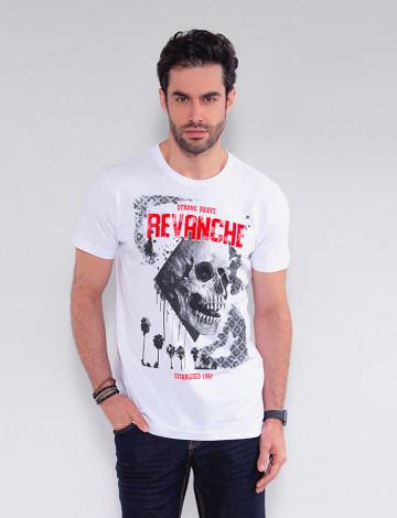 Camiseta Atacado Caveira Masculina Revanche Faso Branco Frente