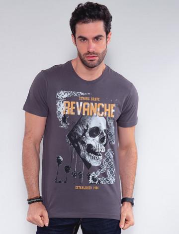 Camiseta Atacado Caveira Masculina Revanche Faso Cinza Frente