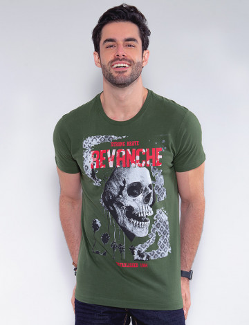 Camiseta Atacado Caveira Masculina Revanche Faso Verde Frente