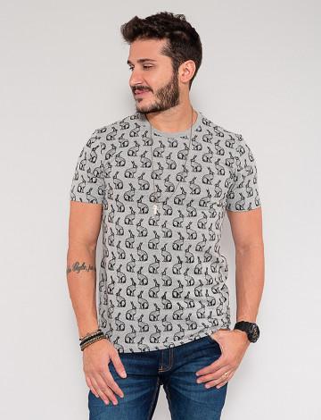 Camiseta Atacado Coelho Masculina Revanche Chevalier Cinza Frente