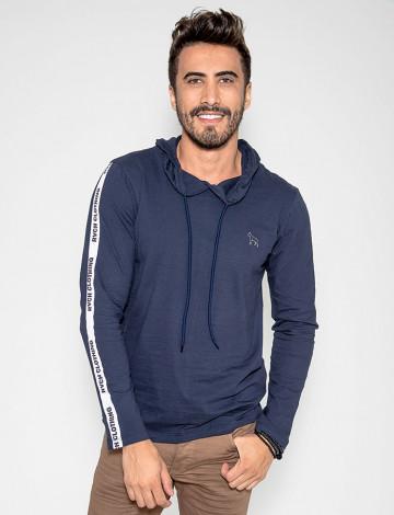 Camiseta Atacado Com Capuz Masculina Revanche Clothing Azul Marinho Frente