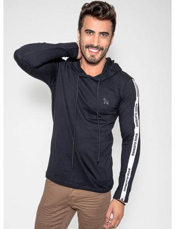 Camiseta Atacado Com Capuz Masculina Revanche Clothing Preta Frente