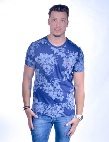 Camiseta Atacado com Estampa Floral e Bordado Cachorrinho Comores Azul Marinho Frente