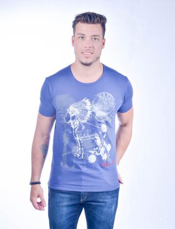 Camiseta Atacado com Estampa Masculina Revanche Mexican Indian Azul Frente