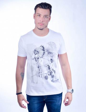 Camiseta Atacado com Estampa Masculina Revanche Mexican Indian Branco Frente
