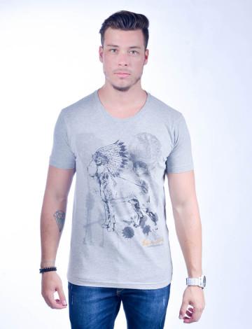 Camiseta Atacado com Estampa Masculina Revanche Mexican Indian Cinza Frente