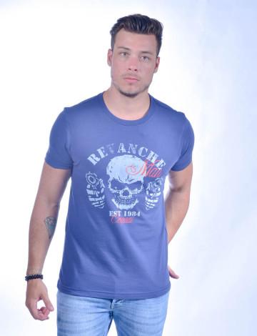 Camiseta Atacado com Estampa Masculino Revanche Cranio Azul Frente