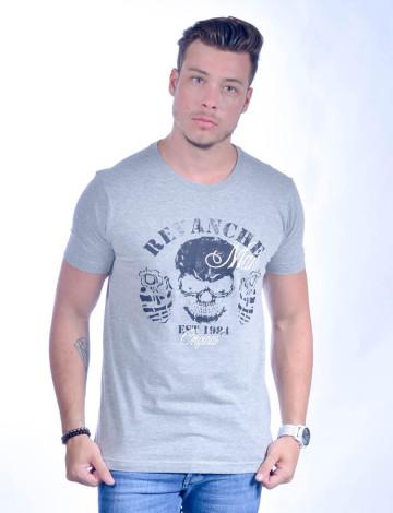 Camiseta Atacado com Estampa Masculino Revanche Cranio MESCLA Frente