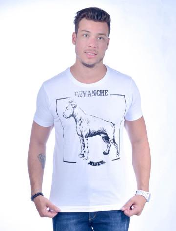 Camiseta Atacado com Estampa Masculino Revanche Hund BRANCO Frente