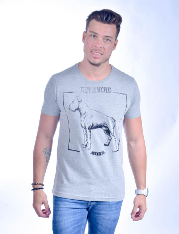 Camiseta Atacado com Estampa Masculino Revanche Hund MESCLA Frente