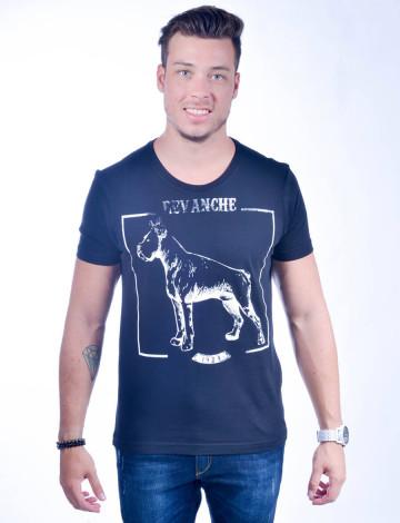 Camiseta Atacado com Estampa Masculino Revanche Hund PRETO Frente