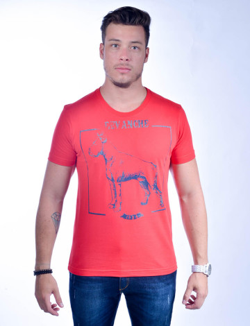 Camiseta Atacado com Estampa Masculino Revanche Hund VERMELHO Frente