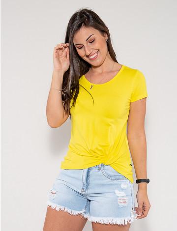 Camiseta Atacado com Nó Feminina Revanche Francielle Amarelo Frente