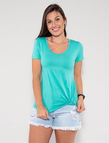 Camiseta Atacado com Nó Feminina Revanche Francielle Verde Frente