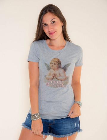 Camiseta Atacado Estampa Feminina Revanche Angel Mescla Frente