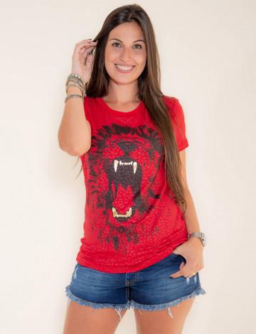 Camiseta Atacado Estampa Feminina Revanche Savage Vermelho Frente