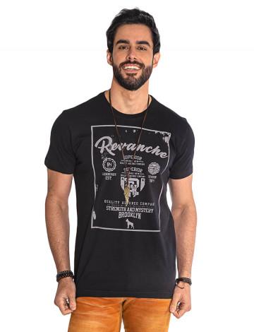 Camiseta Atacado Estampa Masculina Revanche Brooklyn Preta Frente