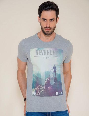 Camiseta Atacado Estampa Masculina Revanche Mountain Mescla Frente