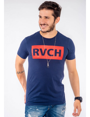 Camiseta Atacado Estampa Masculina Revanche RVCH Azul Frente