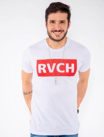 Camiseta Atacado Estampa Masculina Revanche RVCH Branca Frente