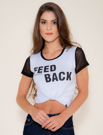 Camiseta Atacado Estampa Preta Feminina Revanche Feed Back Branca Frente