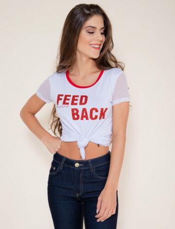 Camiseta Atacado Estampa Vermelha Feminina Revanche Feed Back Branca Frente
