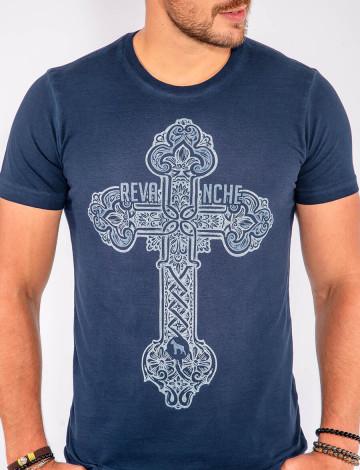 Camiseta Atacado Estampa Silk Masculina Revanche Cross Azul Marinho Frente