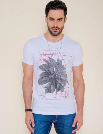 Camiseta Atacado Estampa Silk Masculina Revanche Flower Branca Frente