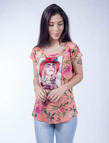 Camiseta Atacado Estampada Floral e com Estampa Feminina Revanche Jewel Coral Frente