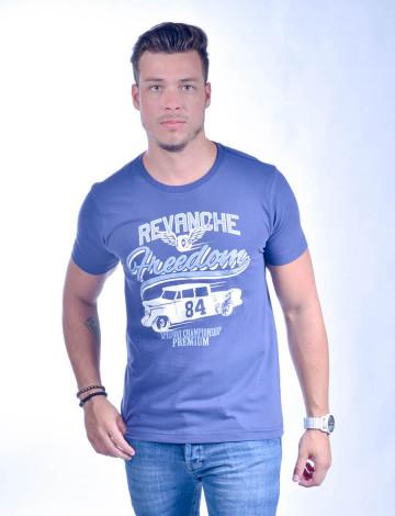 Camiseta Atacado Estampada Masculino Revanche Speedway Azul Frente