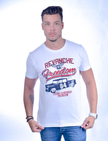 Camiseta Atacado Estampada Masculino Revanche Speedway Branca Frente