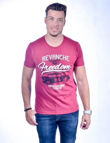 Camiseta Atacado Estampada Masculino Revanche Speedway Vinho Frente