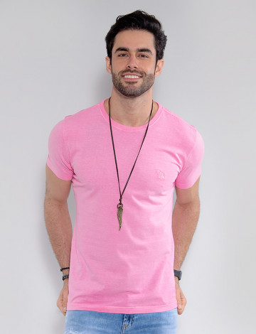 Camiseta Atacado Estonada Masculina Revanche Belmopã Rosa Claro Frente
