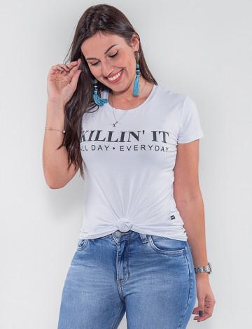 Camiseta Atacado Feminina Revanche Killing It Branco Frente