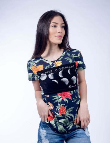 Camiseta Atacado Floral Feminino Revanche Talking To The Moon Estampada Frente