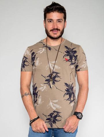 Camiseta Atacado Floral Masculina Revanche Egito Bege Frente