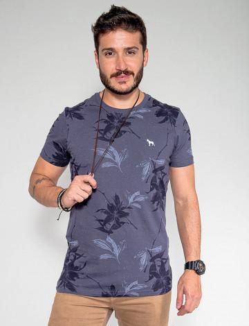 Camiseta Atacado Floral Masculina Revanche Egito Azul Frente