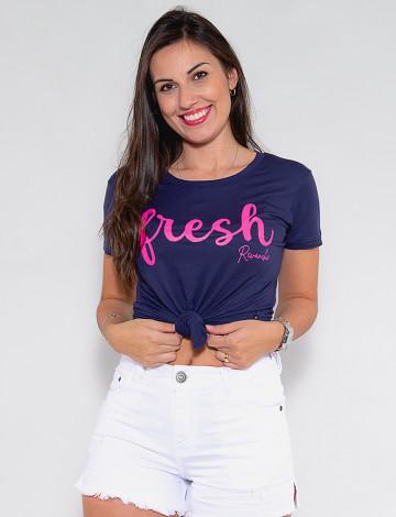 Camiseta Atacado Fresch Feminina Revanche Flori Azul Marinho Frente