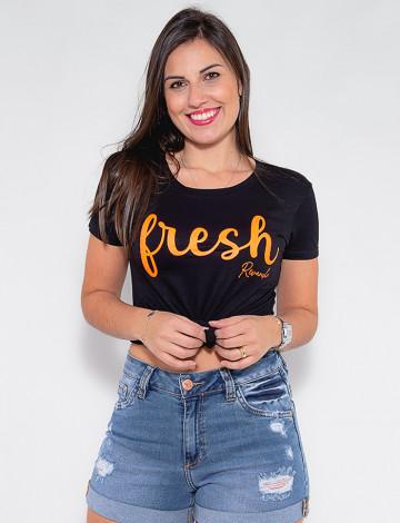 Camiseta Atacado Fresch Feminina Revanche Flori Preto Frente