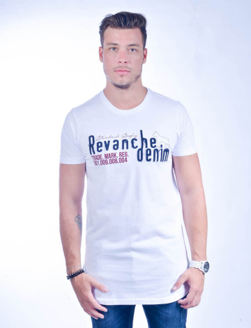 Camiseta Atacado Longline Masculino Revanche Cartum BRANCO Frente