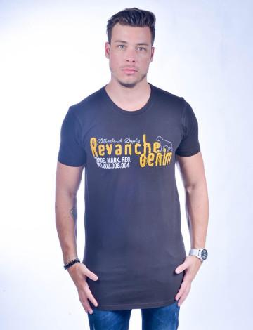 Camiseta Atacado Longline Masculino Revanche Cartum PRETO Frente