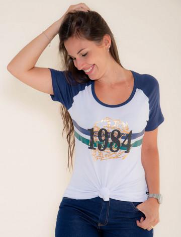 Camiseta Atacado Manga Azul Feminina Revanche Gana Branca Frente