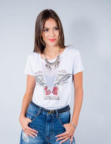 Camiseta Atacado Manga Curta Feminino Revanche Premarel Branco Frente